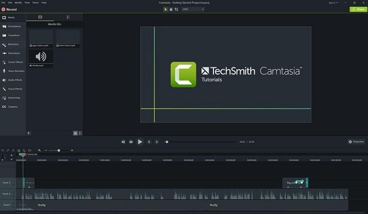 camtasia app interface
