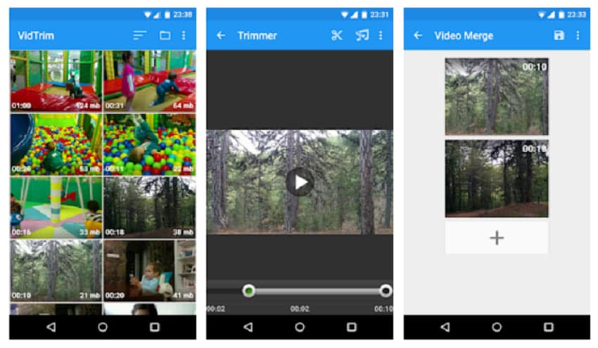 combine videos on android vidtrim