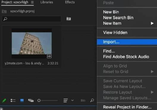 crop video in premiere step 1