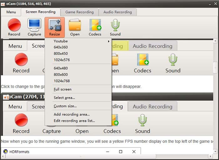 customize recording ocam