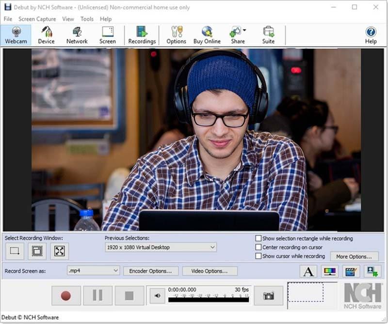 debut video capture screen