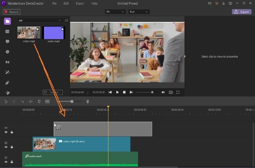democreator add videos to timeline