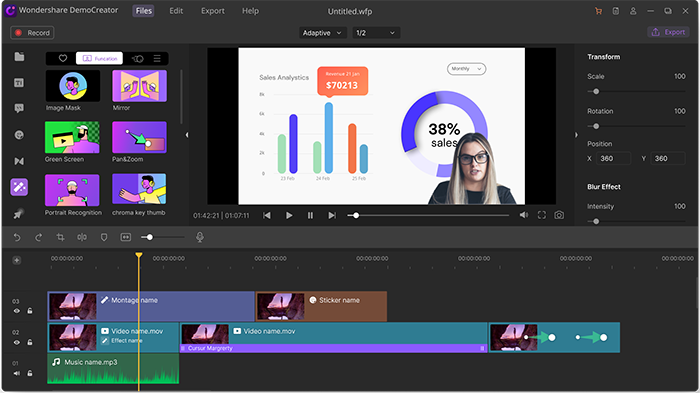edit video in democreator