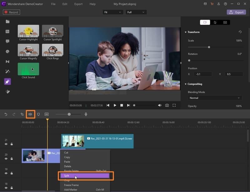 split video with democreator