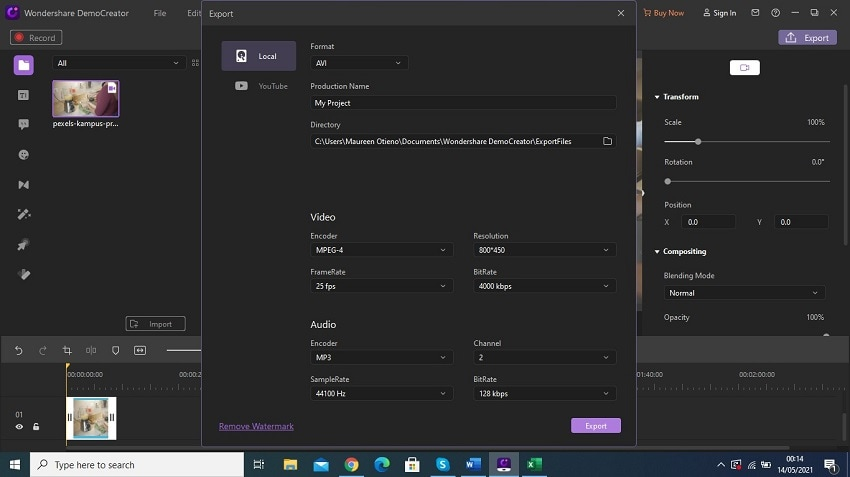 export and share video