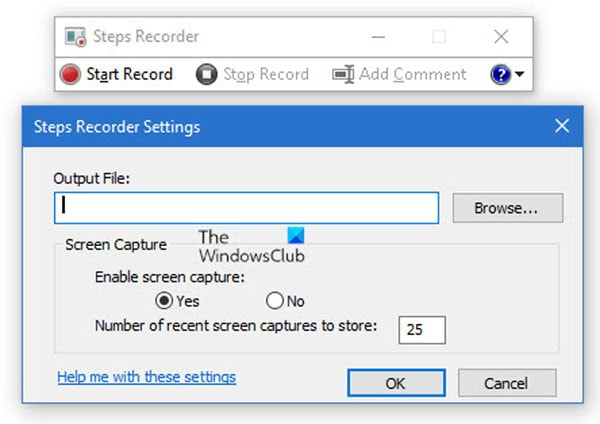 save recordings steps recorder