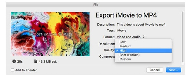 export imovie to mp4 high resolution