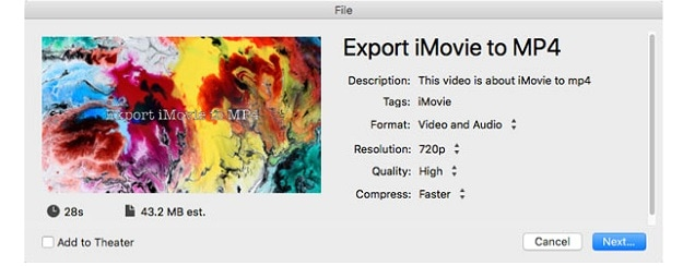 export imovie to mp4