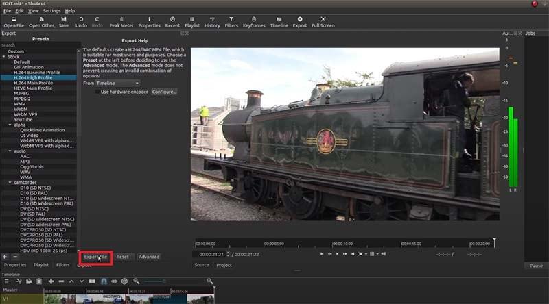 shotcut export videos