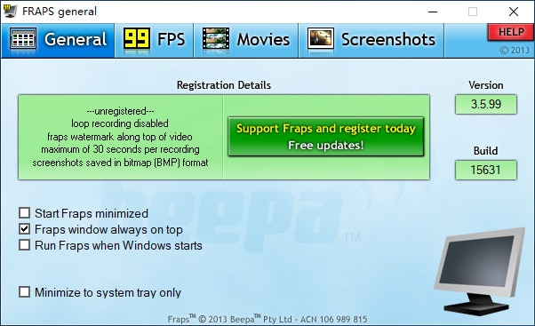 fraps screen recording software