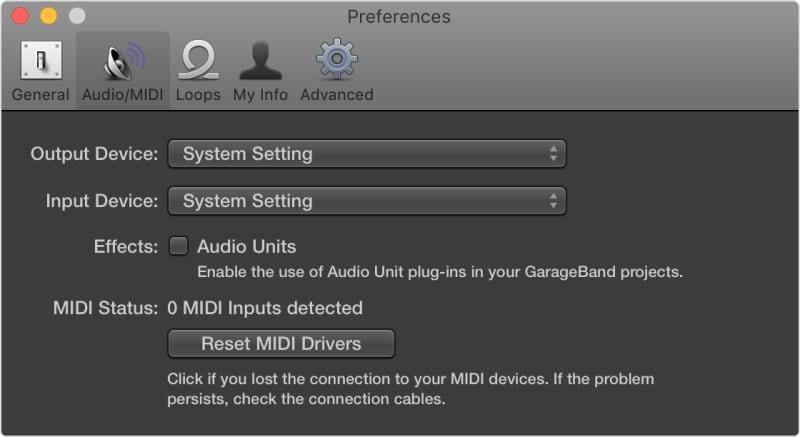 garageband recording setting