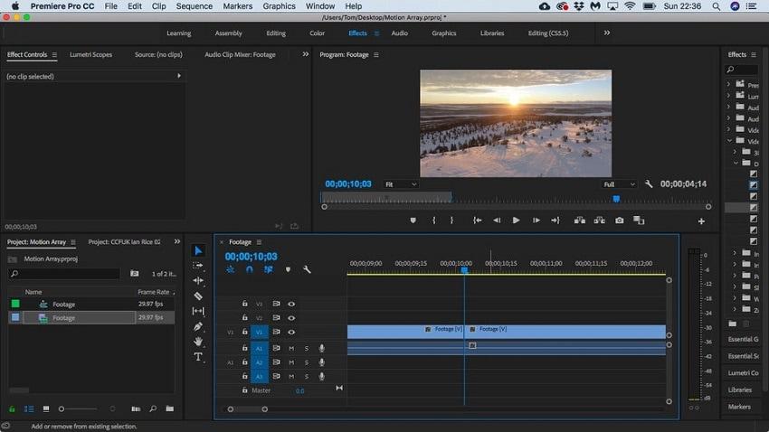 split video in premiere step 2