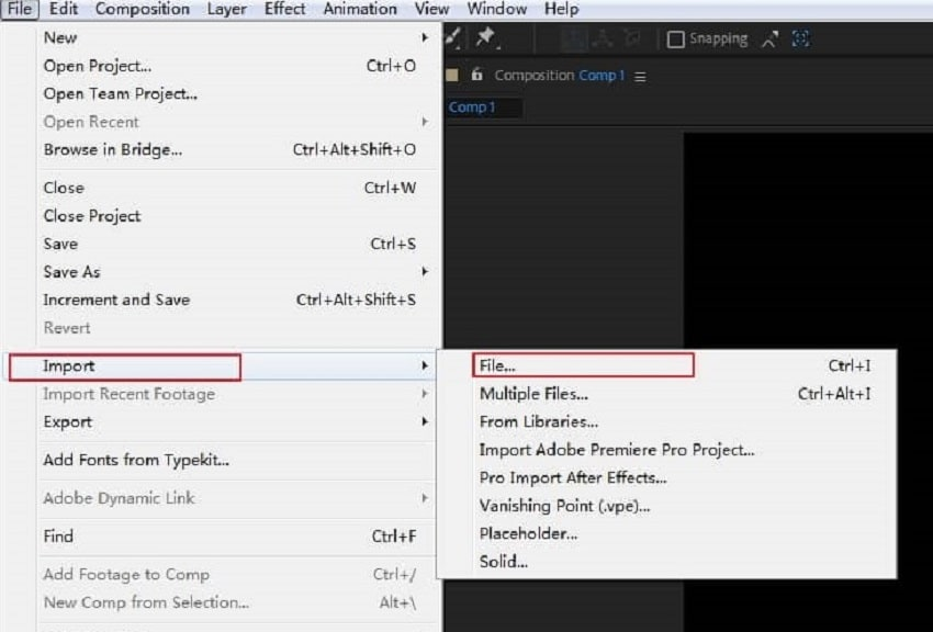 import files in after effects