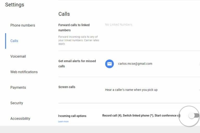 incoming calls google voice