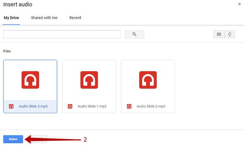 insert audio google slides