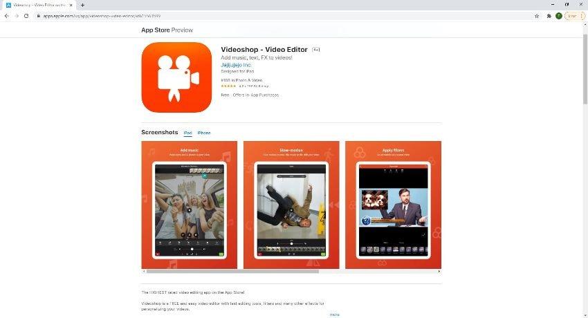 videoshop merge videos on iPhone