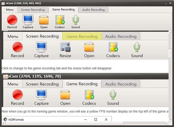 game recording mode ocam