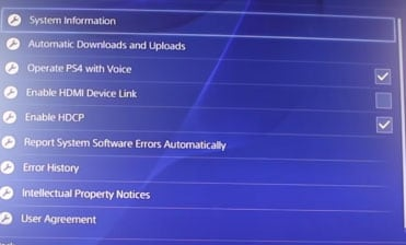 ps4 software settings