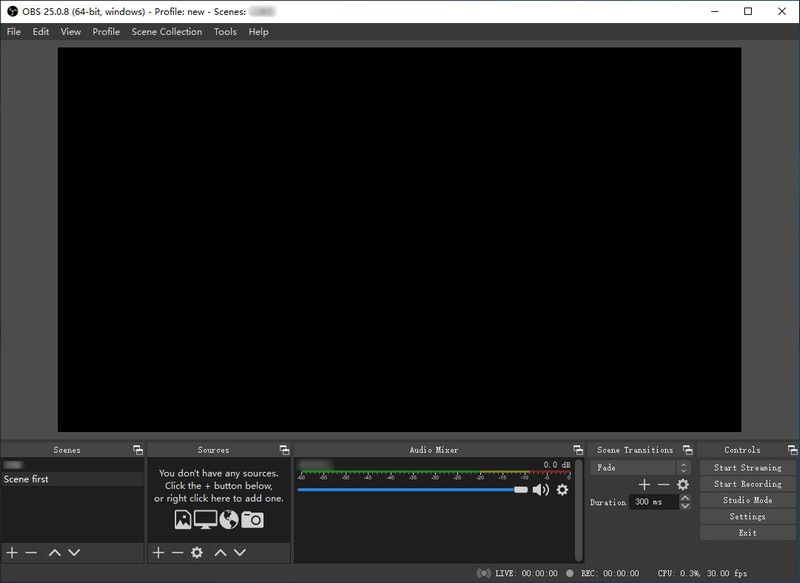 download and run obs screen recording software