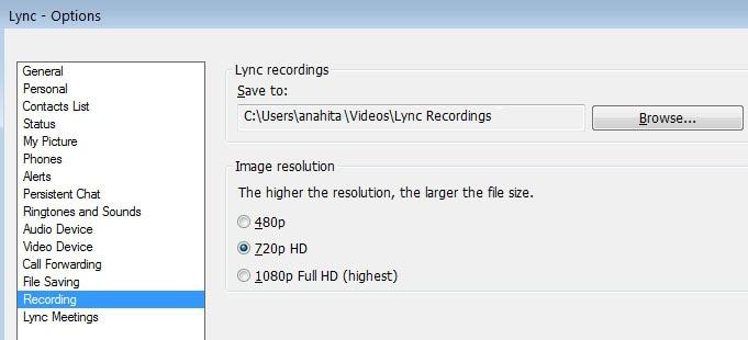 save lync meeting video