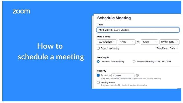 schedule meeting in zoom