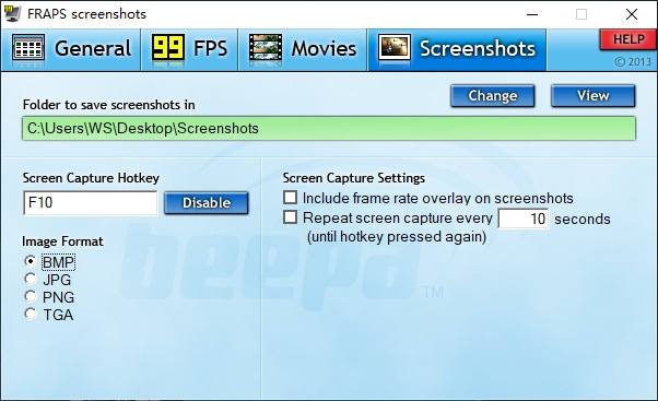 screenshots tab