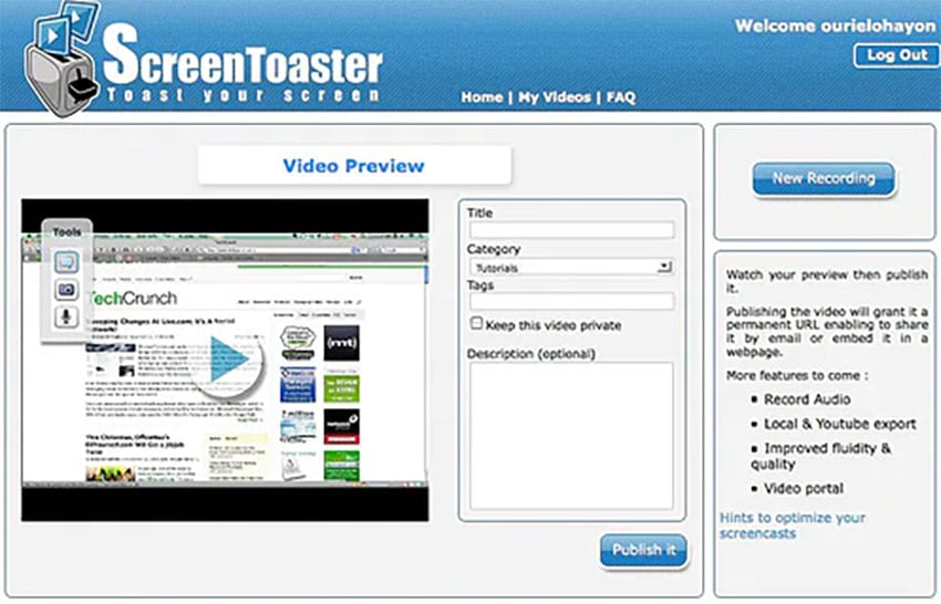 screentoaster screen recorder