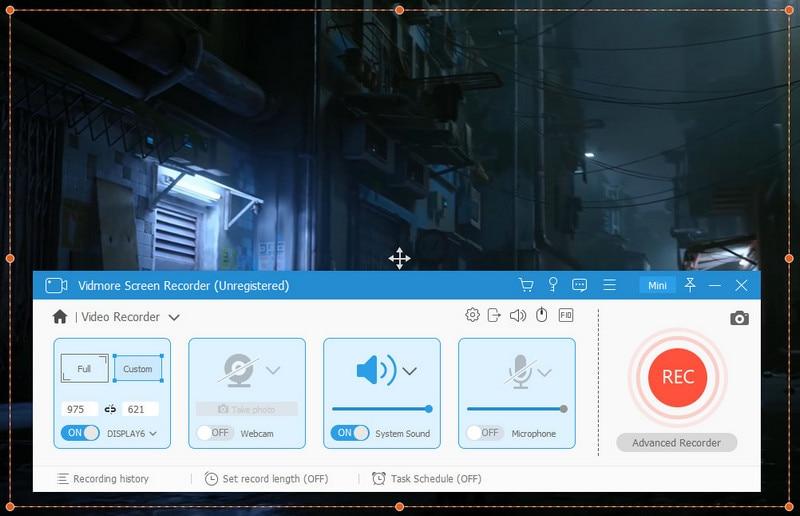 vidmore screen recorder select area