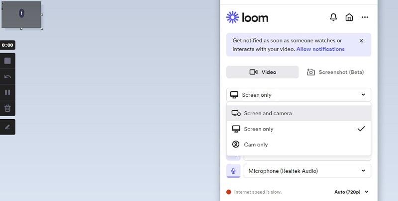 select loom recording mode