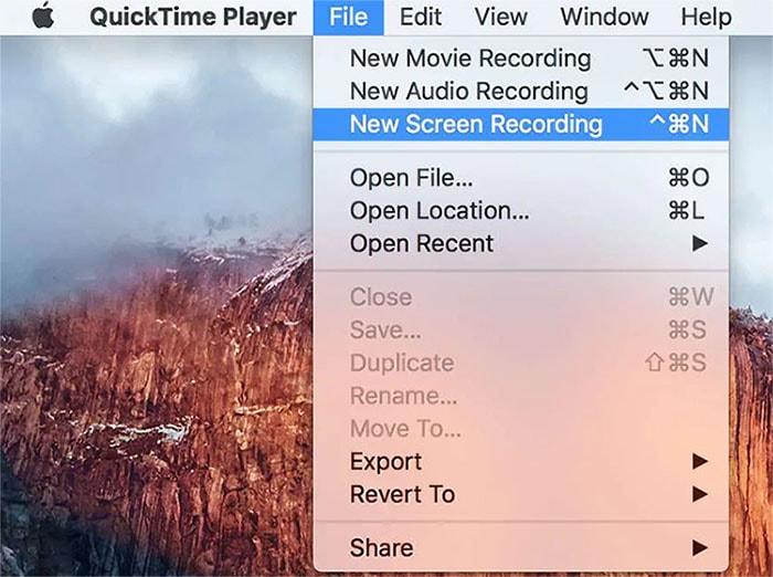 quicktime start recording