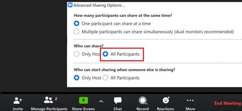 select sharing option