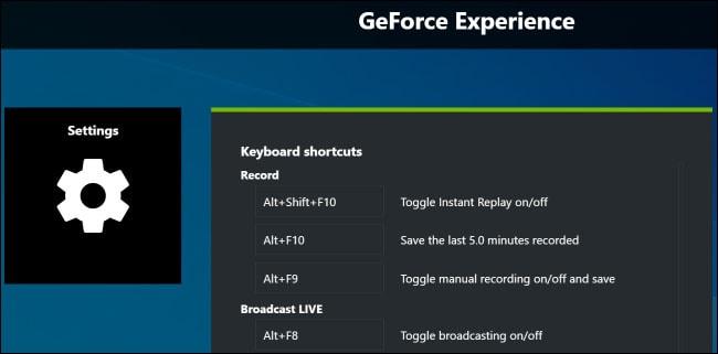 nvidia shortcuts and settings