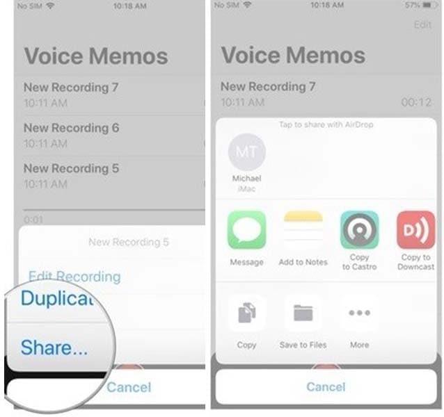 share recordings via voice memo