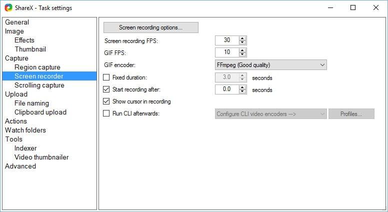 customize settings sharex