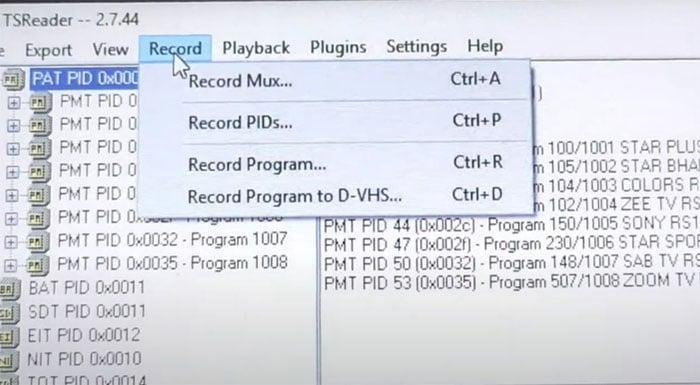 start recording with tsreader