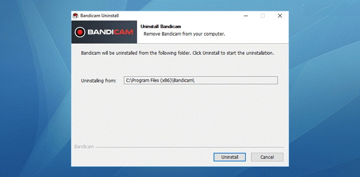 start uninstall bandicam