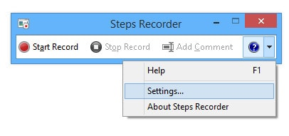 steps recorder settings