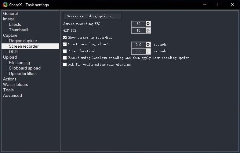 task settings sharex