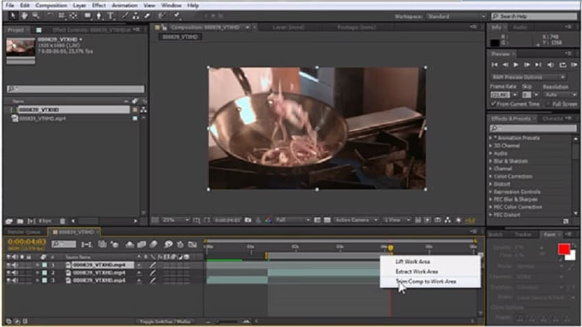 trim in Adobe after effects