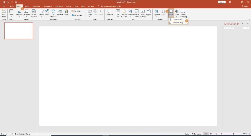 trim video in powerpoint import video