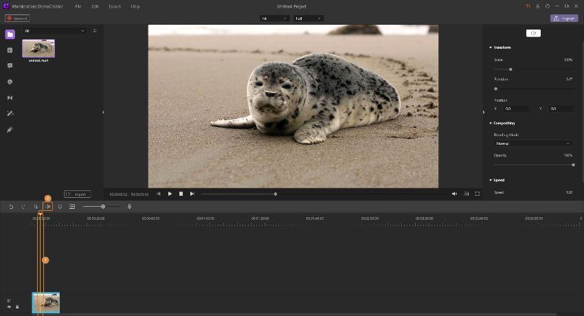 trim video on democreator