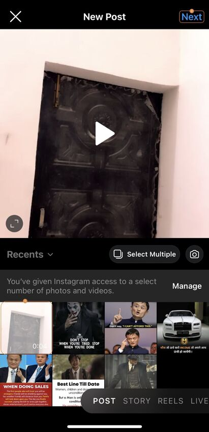 trim video on instagram directly