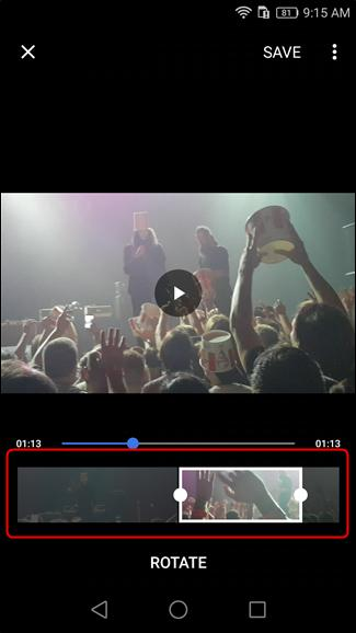 trim video with android built in photo