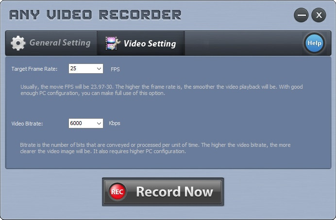 any video recorder settings