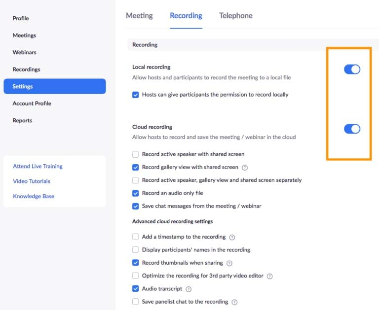zoom recording settings