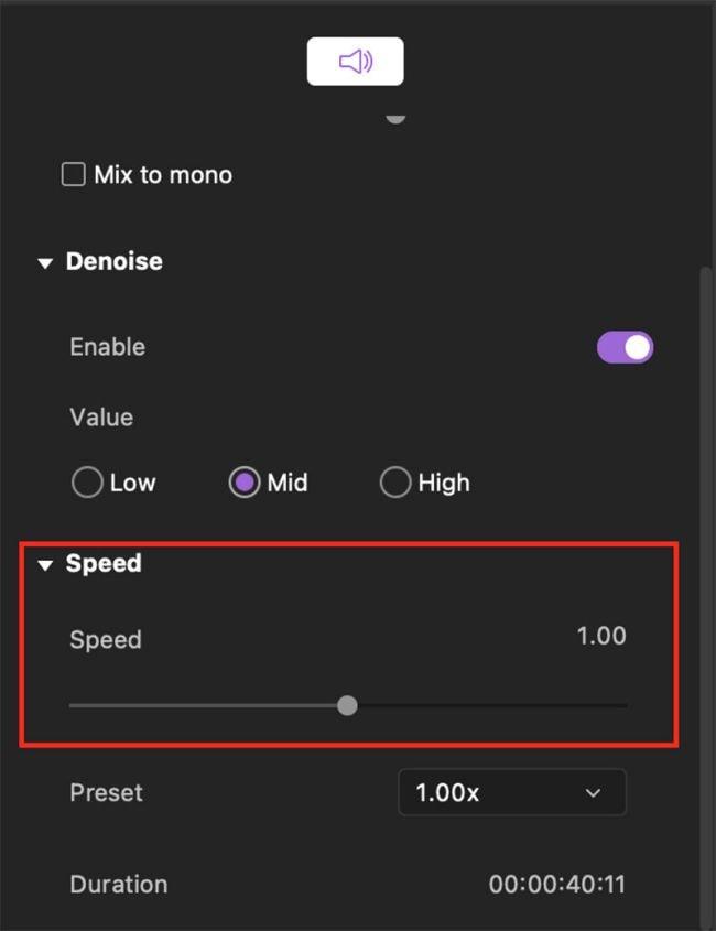adjust audio speed