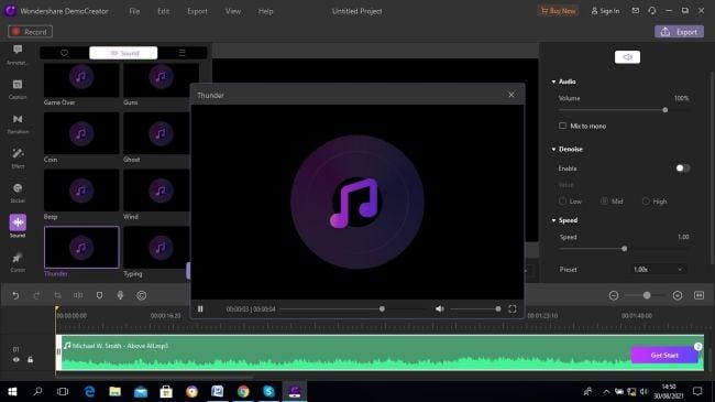 choose sound effects in DemoCreator