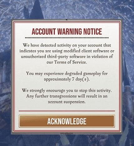 account warning notice