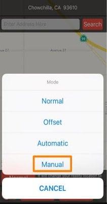 manual mode location handle
