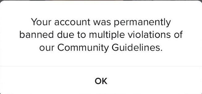 tIktok account ban